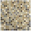 "EliteTile Sierra 0.625"" x 0.625"" Glass and Natural Stone Mosaic Tile in River"