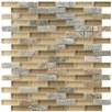 """EliteTile Sierra 0.5"""" x 1.875"""" Glass and Natural Stone Mosaic Tile in Suffolk"""