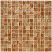"""EliteTile Fused 0.75"""" x 0.75"""" Glass Mosaic Tile in Tan and Gold"""