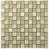 "EliteTile Sierra 0.875"" x 0.875"" Glass and Natural Stone Mosaic Tile in Sandstone"