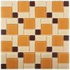 EliteTile Ambit Random Sized Glass Mosaic Tile in Suntan