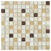 "EliteTile Abbey 0.875"" x 0.875"" Glass, Stone and Metal Mosaic Tile in Glouster Glass"