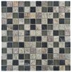 """EliteTile Abbey 7/8"""" x 7/8"""" Natural Stone and Metal Textured Mosaic in Fauna Verde"""