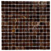 "EliteTile Fused 0.75"" x 0.75"" Glass Mosaic Tile in Brown and Gold"