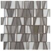 """EliteTile Trapeze 11.75"""" x 11.875"""" Glass and Aluminum Mosaic Tile in Grey"""
