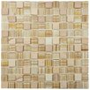 "EliteTile Chroma 0.875"" x 0.875"" Glass and Natural Stone MosaicTile in Butterscotch"
