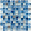 "EliteTile Sierra 0.875"" x 0.875"" Glass and Metal Mosaic Tile in Alpine"