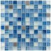 """EliteTile Sierra 11.625"""" x 11.625"""" Glass and Metal Mosaic Tile in Alpine"""