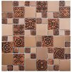 EliteTile Metallic Random Sized Resin and Metal, Porcelain Mosaic Tile in Copper