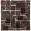 EliteTile Eden Random Sized Glass and Stone Mosaic Tile in Walnut