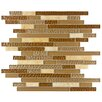 """EliteTile Sierra 11.75"""" x 11.875"""" Glass and Natural Stone Mosaic Tile in Amber"""
