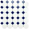 "EliteTile Retro 11.5"" x 11.5"" Porcelain Mosaic Tile in Matte White with Cobalt Dot"