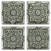 "EliteTile Milton 1.2"" x 1.2"" Medallion Mosaic Pin Insert Wall Tile in Pewter"
