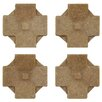 "EliteTile Milton 1.2"" x 1.2"" Medallion Mosaic Pin Insert Wall Tile in Clove Noce Travertine"