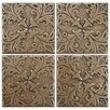 "EliteTile Milton 2"" x 2"" Tozetto Medallion Floor and Wall Insert Tile in Bouquet Bronze"