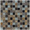 "EliteTile Abbey 0.875"" x 0.875"" Glass, Stone and Metal Mosaic Tile in Alloy Charcoal"