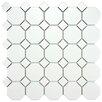 """EliteTile Retro 11.5"""" x 11.5"""" Porcelain Mosaic Tile in Matte White with White Dot"""