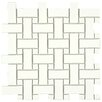 "EliteTile Retro Basket Weave 10.5"" x 10.5"" Porcelain Mosaic Tile in White"