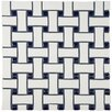 "EliteTile Retro Basket Weave 10.5"" x 10.5"" Porcelain Mosaic Tile in White and Cobalt"