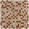 """EliteTile Sierra 0.625"""" x 0.625"""" Glass and Natural Stone Mosaic Tile in Caramel"""