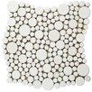 EliteTile Posh Bubble Random Sized Porcelain Glazed Mosaic in White