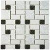 "EliteTile Pallas 11.75"" x 11.75"" Porcelain Mosaic Tile in White/Black"