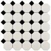 "EliteTile Retro 11.5"" x 11.5"" Porcelain Mosaic Tile in Matte White and Black"
