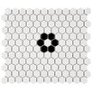 "EliteTile Retro 0.875"" x 0.875"" Hex Porcelain Mosaic Tile in White with Single Flower"