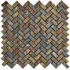 """EliteTile Peak Herringbone 0.63"""" x 1.25"""" Slate Mosaic Tile in Sunset"""