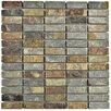 "EliteTile Peak Linear 0.75"" x 2.25"" Slate Mosaic Tile in Sunset"