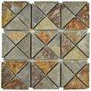 EliteTile Peak TriSquare Random Sized Slate Mosaic Tile in Sunset