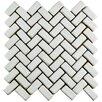 "EliteTile Greenwich 0.875"" x 2.875"" Herringbone Ceramic Tile in White"