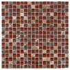 """EliteTile Sierra 0.625"""" x 0.625"""" Glass and Natural Stone Mosaic Tile in Bordeaux"""
