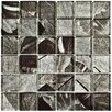 "EliteTile Archaea 1.88"" x 1.88"" Quad Glass Mosaic Tile in Ginkgo Silver (Set of 5)"