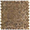 "EliteTile Astraea 0.59"" x 0.59"" Penny Round Porcelain Mosaic Tile in Gold"