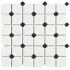 "EliteTile Retro Broadway 11.75"" x 11.75"" Porcelain Mosaic Tile in Matte White with Black Dots"