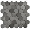 "EliteTile Formation 1.88"" x 1.88"" Hex Volcanic Stone Mosaic Tile in Black"