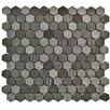 "EliteTile Formation 1"" x 1"" Hex Volcanic Stone Mosaic Tile in Black"