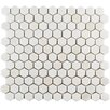 """EliteTile Formation 1"""" x 1"""" Hex Marble Mosaic Tile in White"""