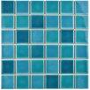 "EliteTile Enclave 1.88"" x 1.88"" Porcelain Mosaic Tile in Hawaii Blue"
