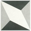 """EliteTile Forties 7.75"""" x 7.75"""" Ceramic Floor and Wall Tile in Diamond White and Gray"""
