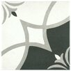 """EliteTile Forties 7.75"""" x 7.75"""" Ceramic Floor and Wall Tile in Crest White and Gray"""