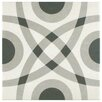 """EliteTile Forties 7.75"""" x 7.75"""" Ceramic Floor and Wall Tile in Circle White and Gray"""