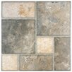 "EliteTile Catalan 17.75"" x 17.75"" Ceramic Floor and Wall Tile in Magma Brown and Beige"