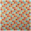 """EliteTile Alundum Mini 0.56"""" x 0.56"""" Brushed Aluminum Mosaic Wall Tile in Cirque Red and Blue"""