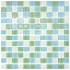"""EliteTile Continuum 0.88"""" x 0.88"""" Glass Mosaic Wall Tile in Fresh Square Green and Blue"""