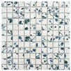 """EliteTile Woolton 0.9"""" x 0.9"""" Porcelain Mosaic Floor and Wall Tile in White and Blue"""