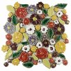 EliteTile Floral Random Size Ceramic Mosaic Wall Tile in Yellow and Green