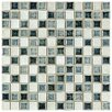 "EliteTile Interval 0.88"" x 0.88"" Ceramic and Glass Mosaic Wall Tile in Azure White And Black Mix"