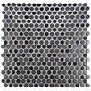 "EliteTile Astraea 0.62"" x 0.62"" Penny Round Porcelain Mosaic Tile in Silver"